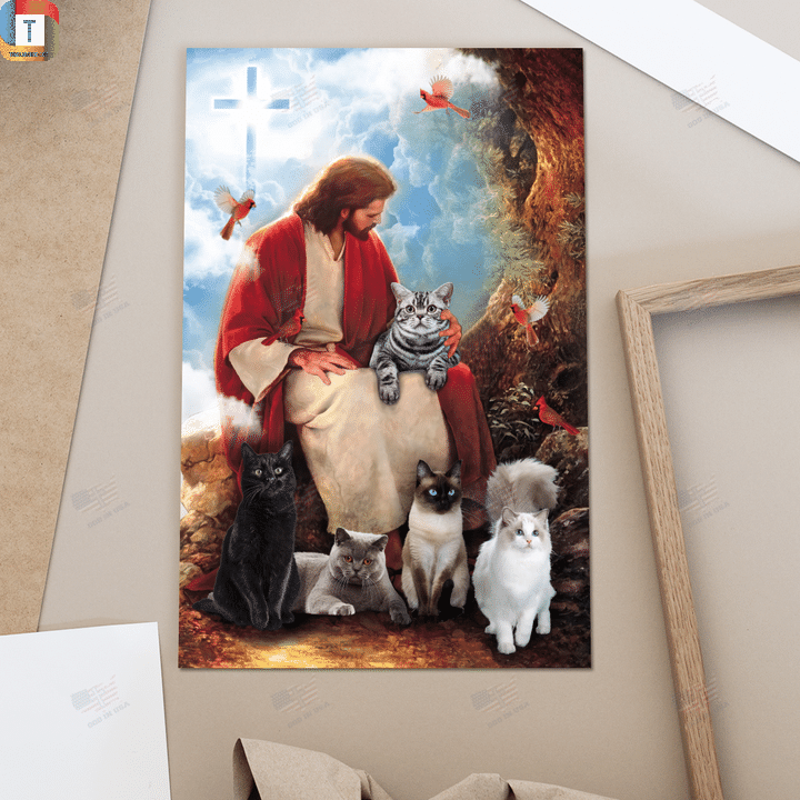 God surrounded by cats and red cardinal birds poster canvas 1
