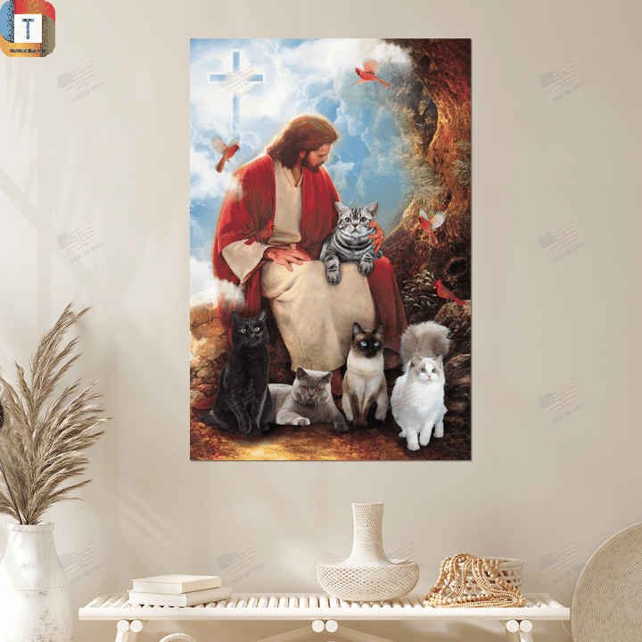 God surrounded by cats and red cardinal birds poster canvas 2