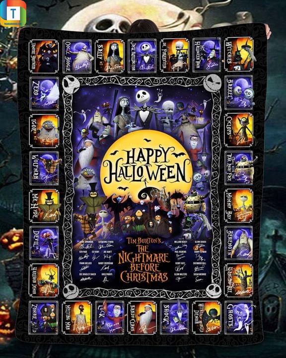 Happy halloween Tim burton's the nightmare before christmas blanket