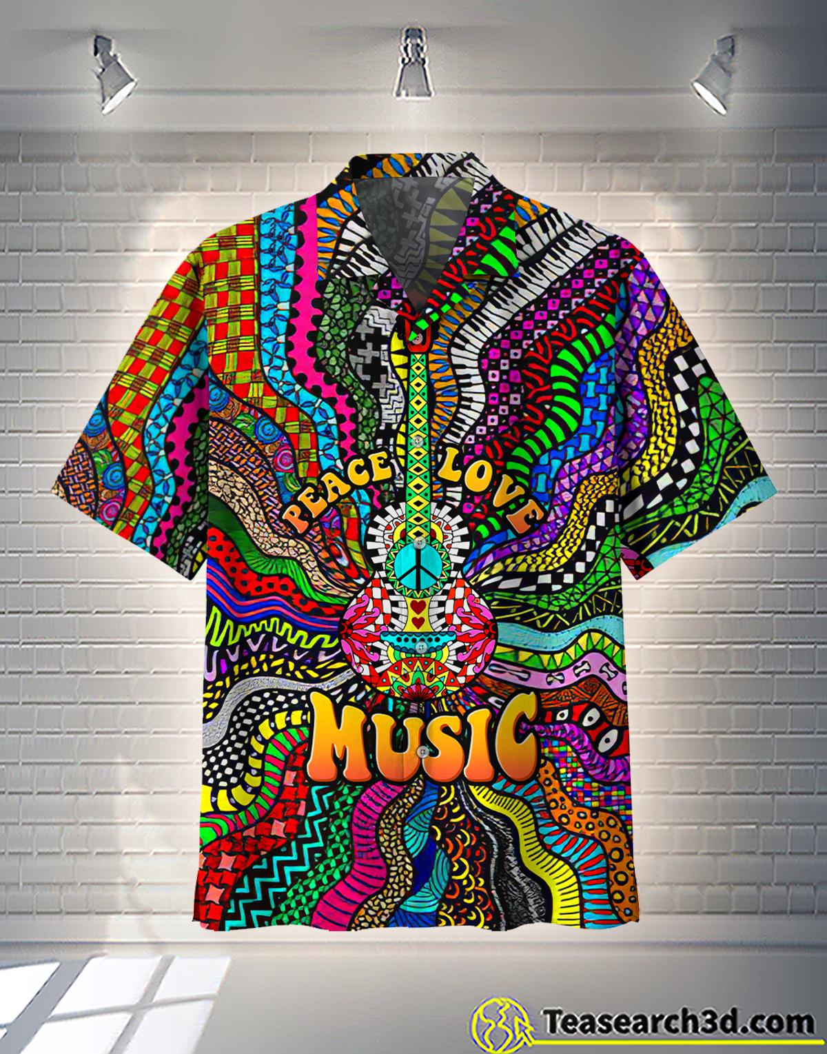 Hippie peace love music hawaiian shirt