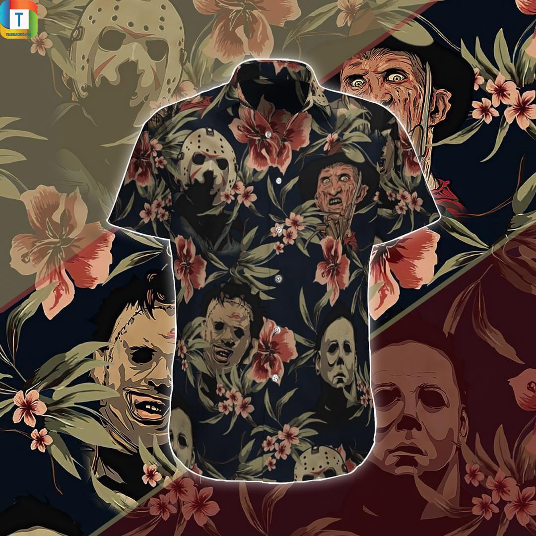 Horror Movies Characters Jason Voorhees Freddy Krueger Leatherface Michael Myers hawaiian shirt