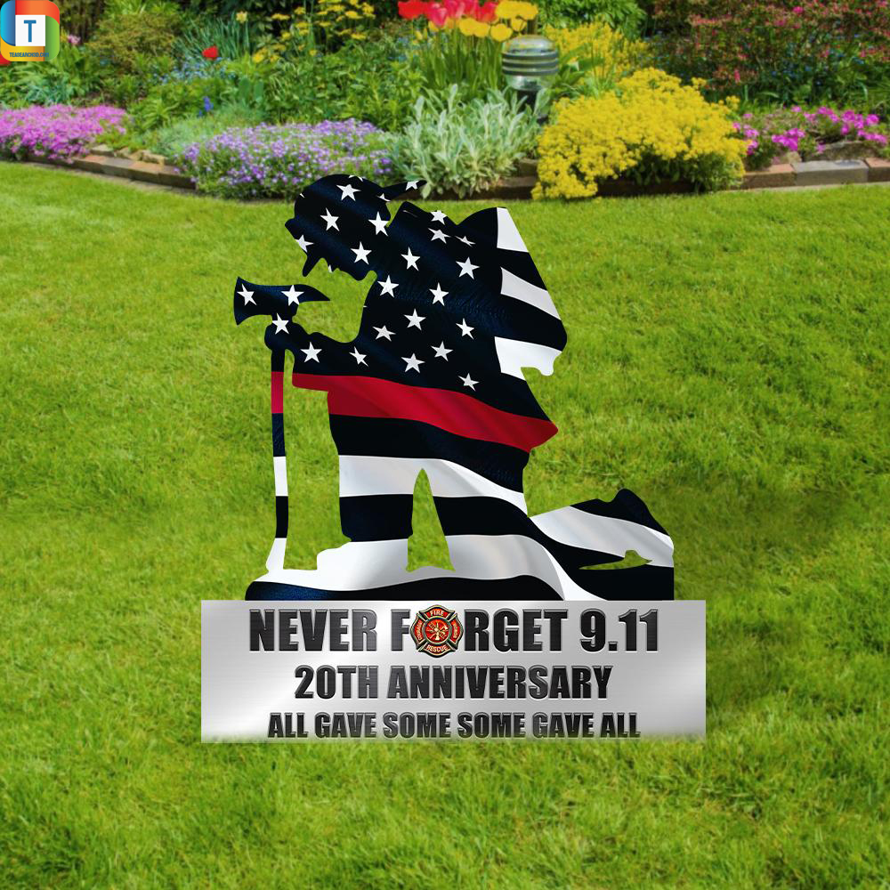 Kneeling Firefighter Never Forget 9-11 20th Anniversary Metal Sign 2