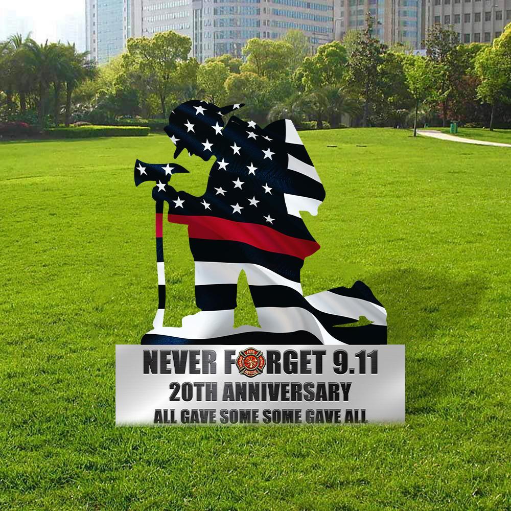 Kneeling Firefighter Never Forget 911 Metal Wall Art 1