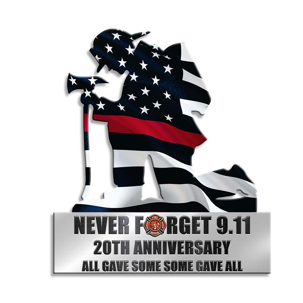 Kneeling Firefighter Never Forget 911 Metal Wall Art