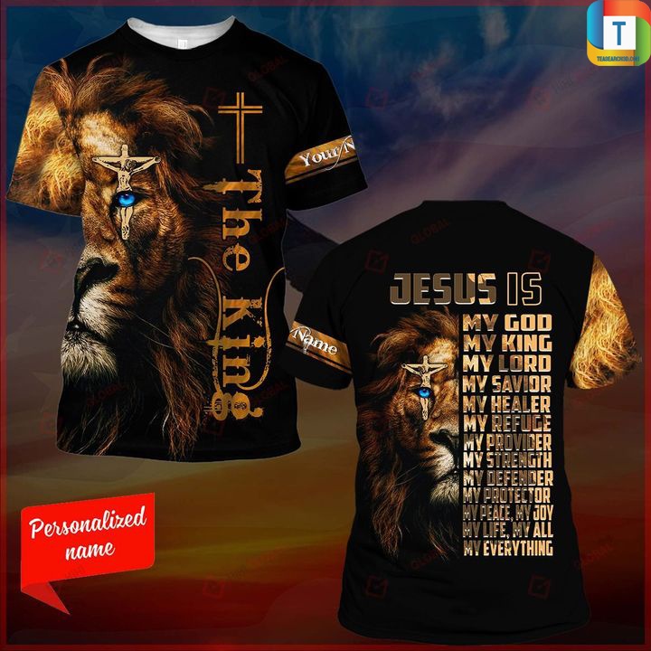 Lion the king jesus is my god my king my lord 3d all over printed shirt