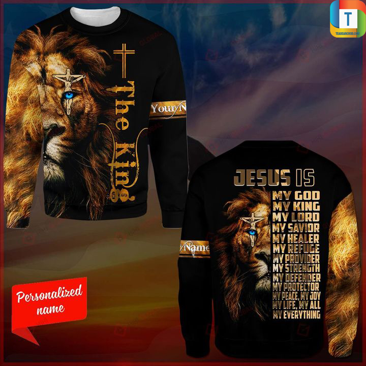 Lion the king jesus is my god my king my lord 3d all over printed sweatshirt