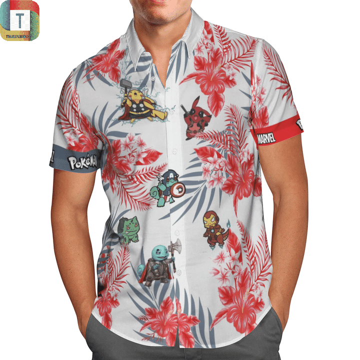 MARVEL pokemon hawaiian shirt 1