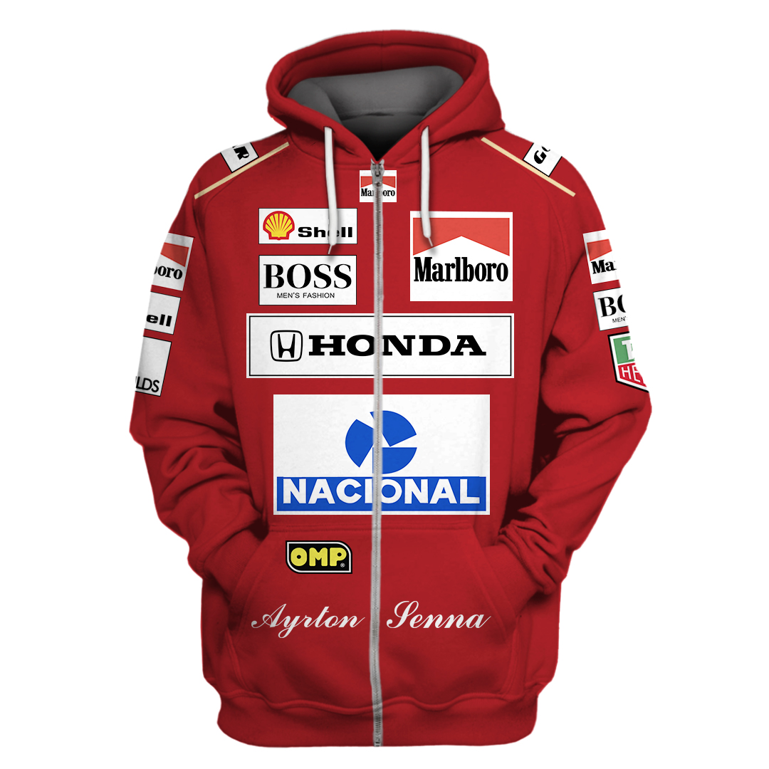 Marlboro Honda Nacional Racing 3D Full Printing Zip Hoodie