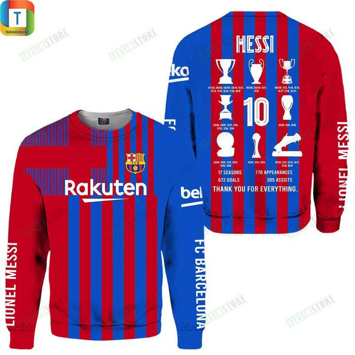 Messi trophies with barca thank you for everything 3d all over printed shirt 3