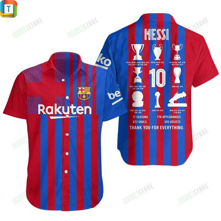 Messi trophies with barca thank you for everything 3d all over printed shirt