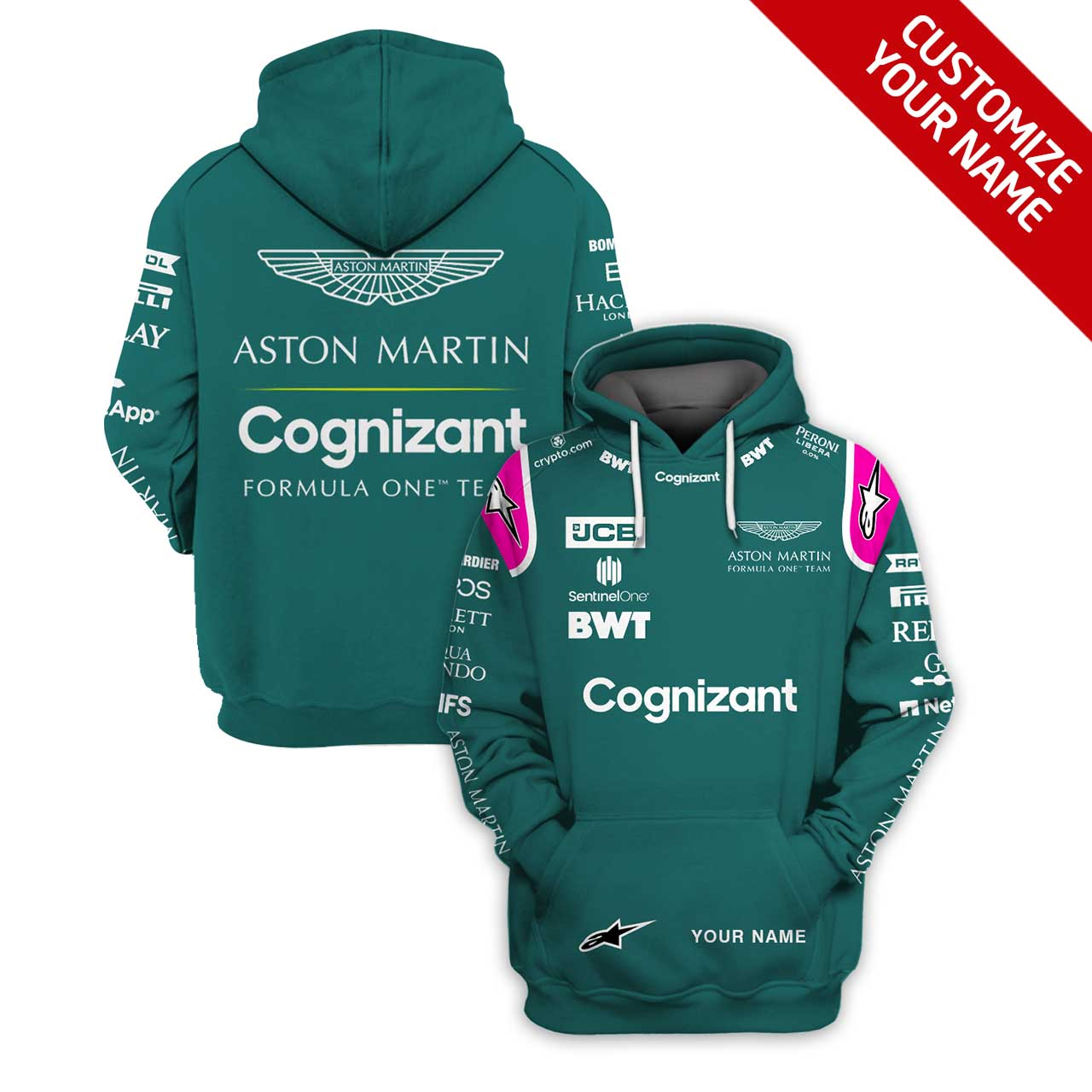 Personalized Aston Martin Cognizant Formula One Team Racing 3D Full Printing Hoodie