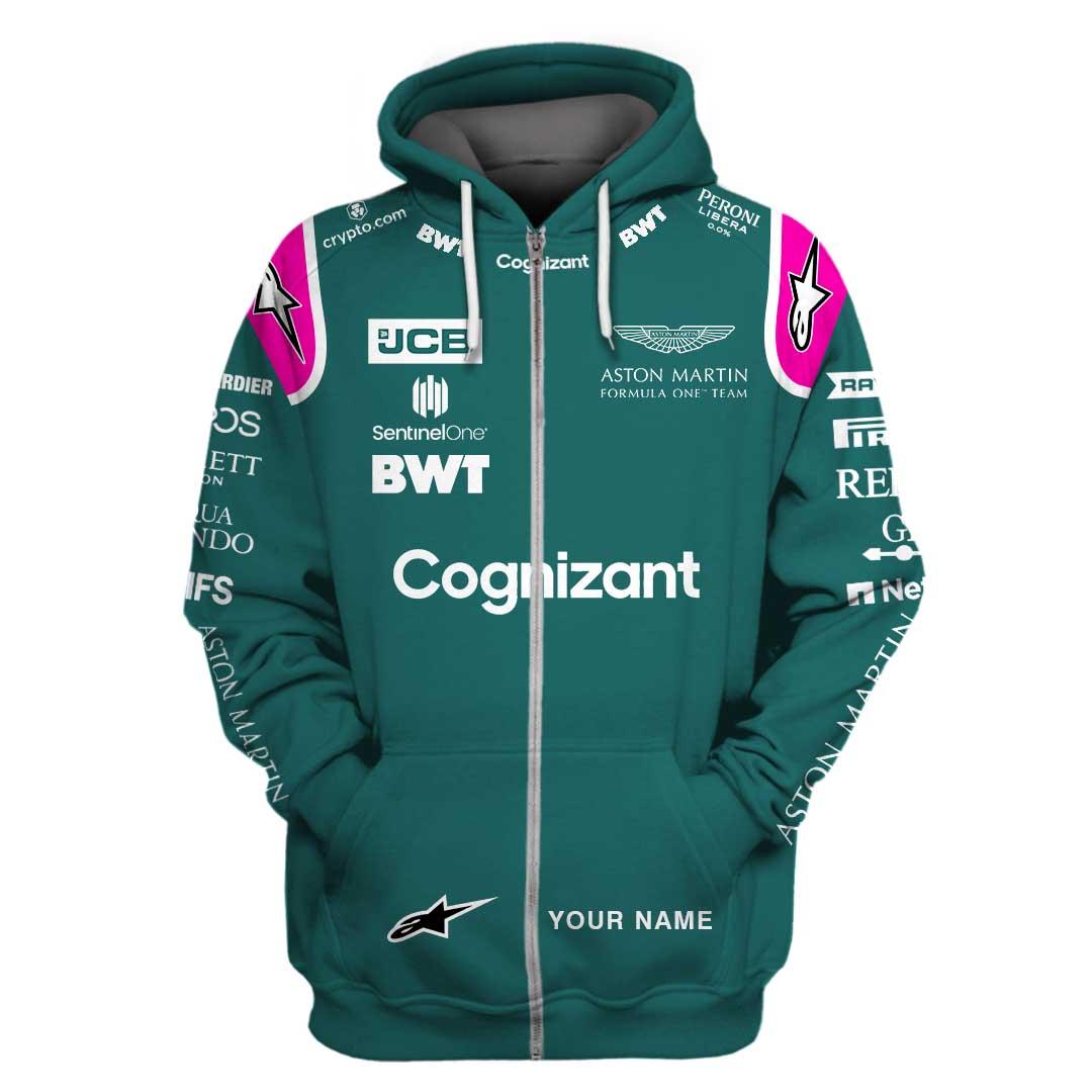 Personalized Aston Martin Cognizant Formula One Team Racing 3D Full Printing Zip Hoodie
