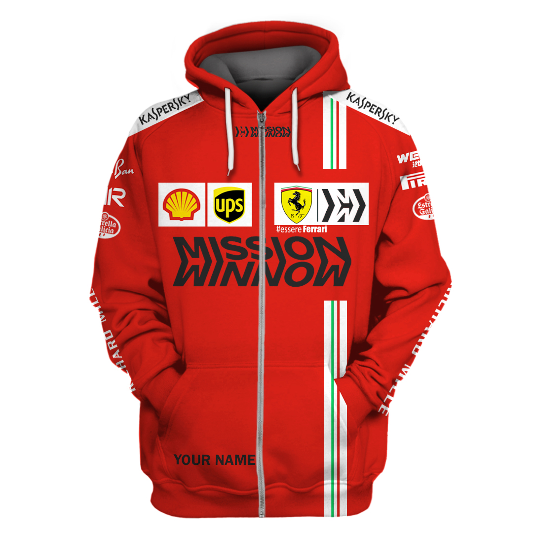 Personalized Essere Ferrari F1 Racing 3D Full Printing Zip Hoodie