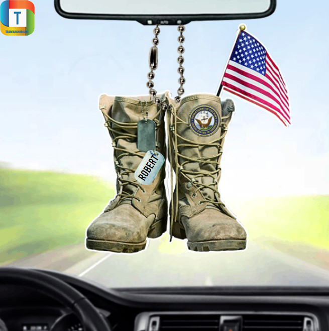 Personalized US Navy Military Boots Car Ornament