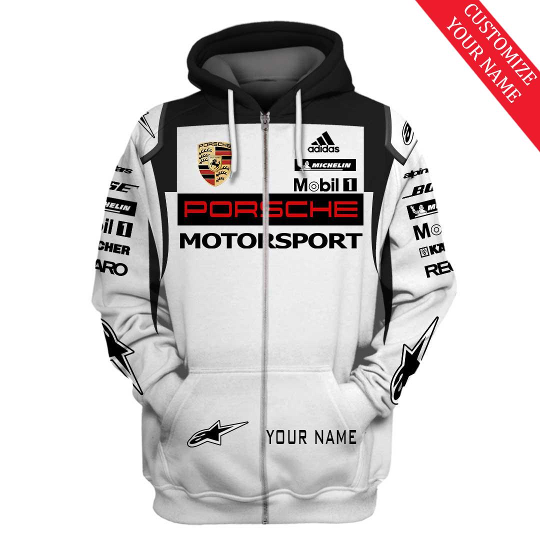 Personalized custom name Porsche motorsport racing 3D Full Printing Zip Hoodie