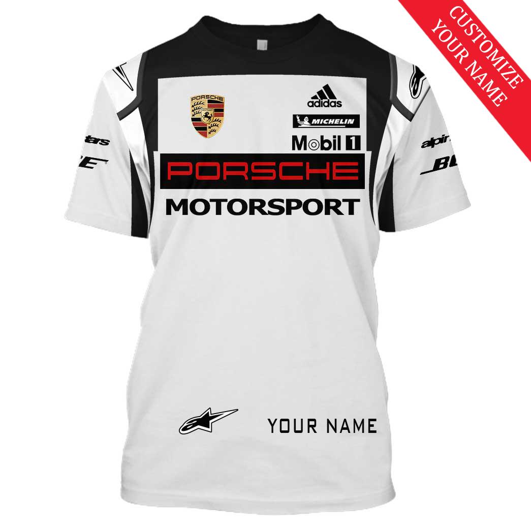 Personalized custom name Porsche motorsport racing 3D Full Printing t-shirt