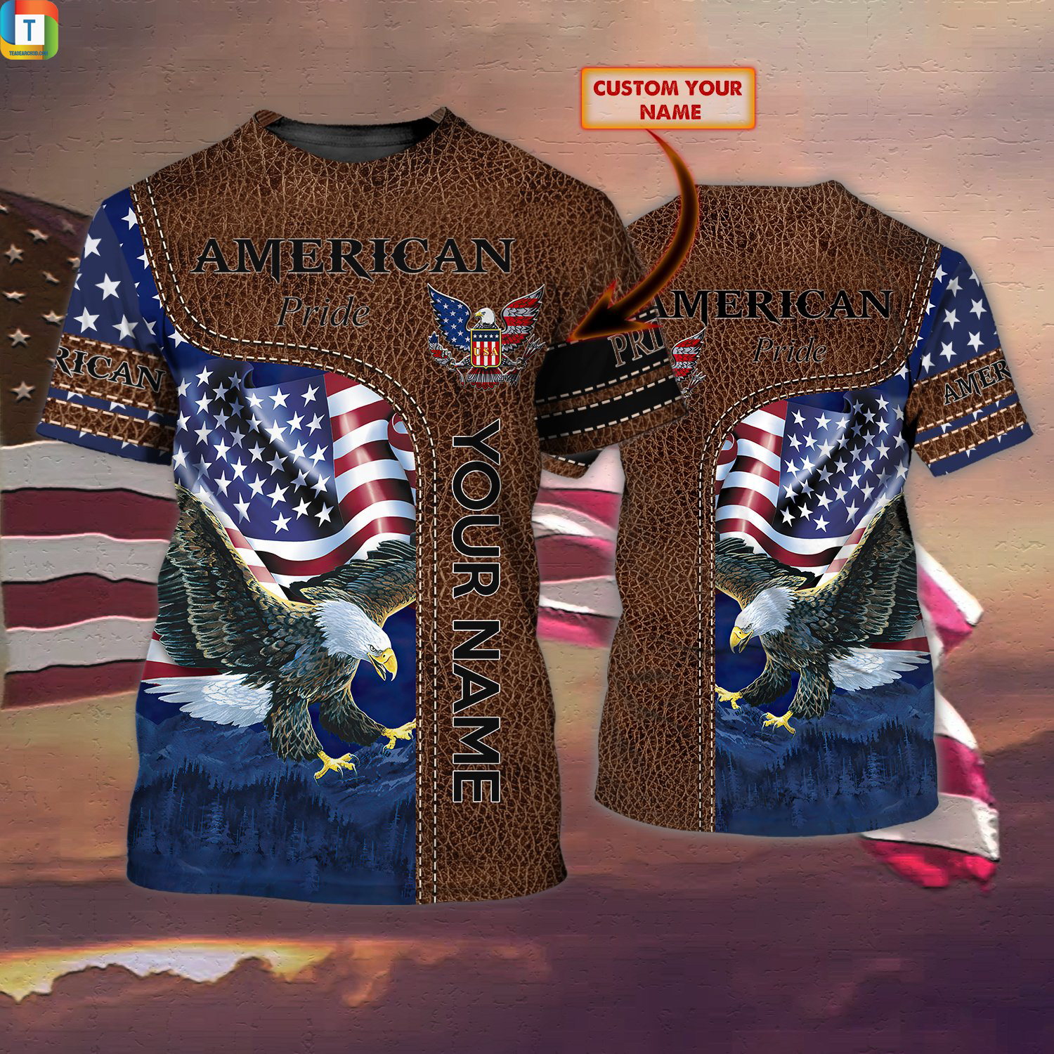 Personalized custom name american pride 3d all over printed shirt