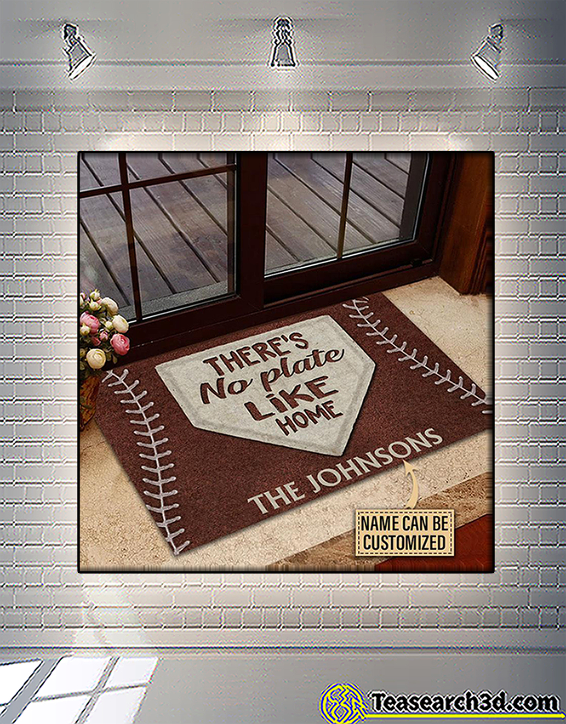 Personalized custom name baseball there's no plate like home doormat
