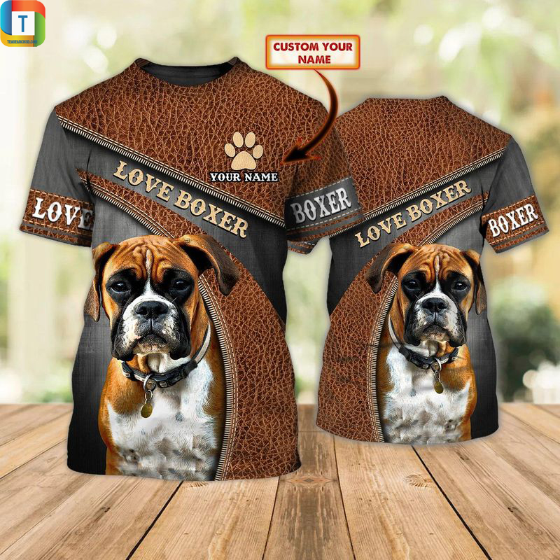 Personalized custom name love boxer dog 3d all over printed shirt