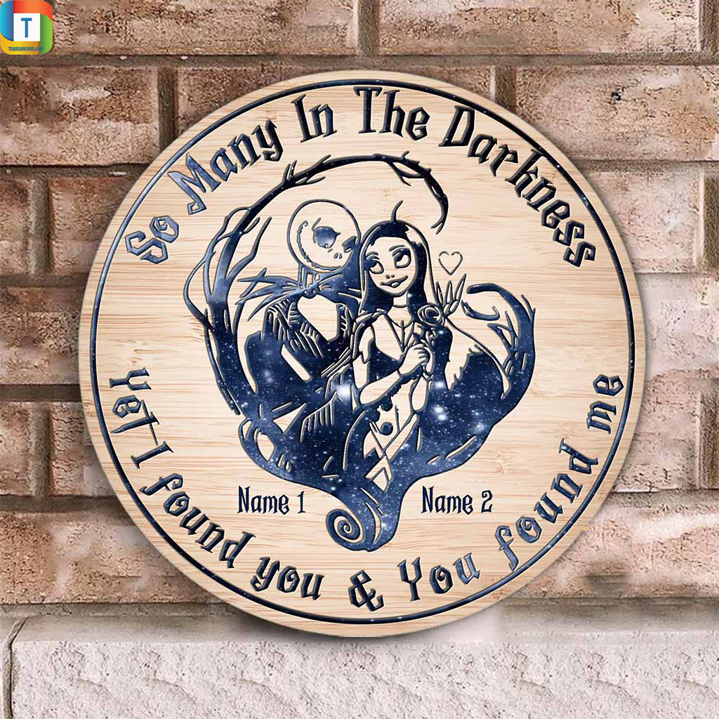 Personalized jack skellington and sally so many in the darkness wood sign 1