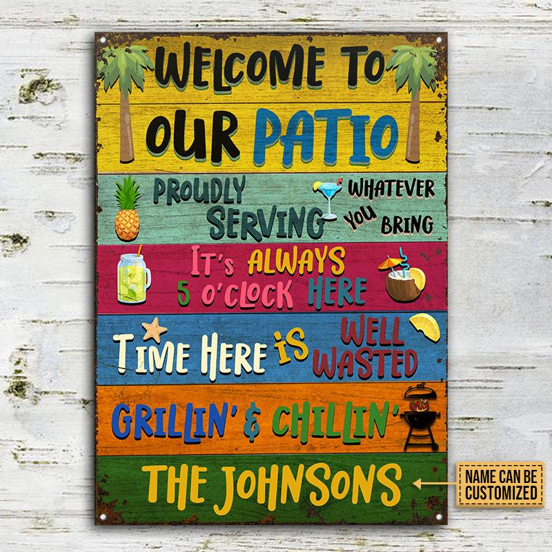 Personalized welcome to our patio grilling chilling metal sign 2