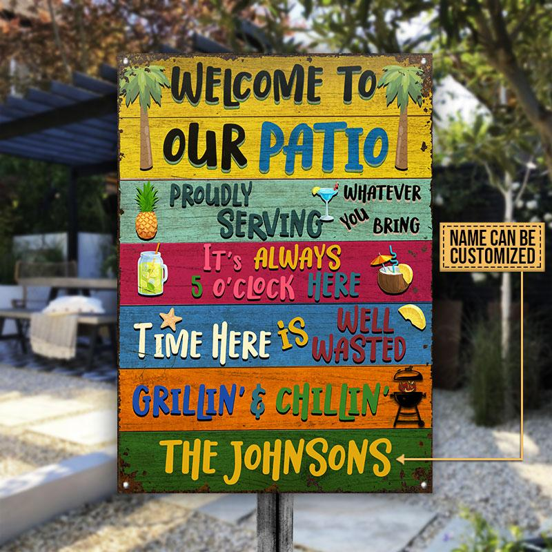 Personalized welcome to our patio grilling chilling metal sign
