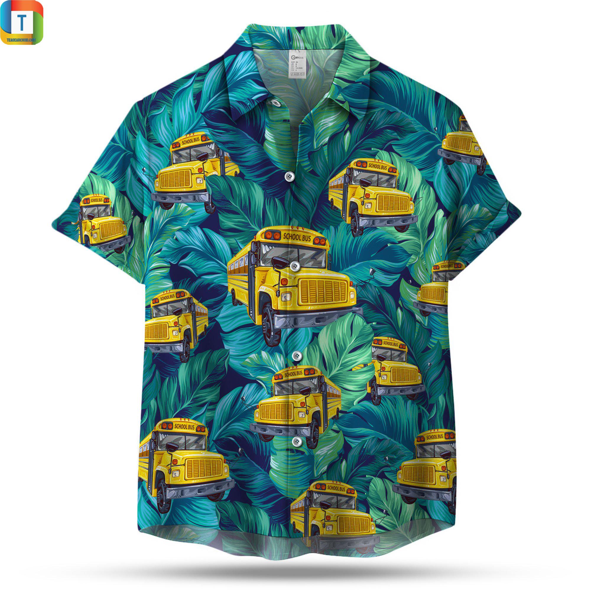 School bus pattern hawaiian shirt 1