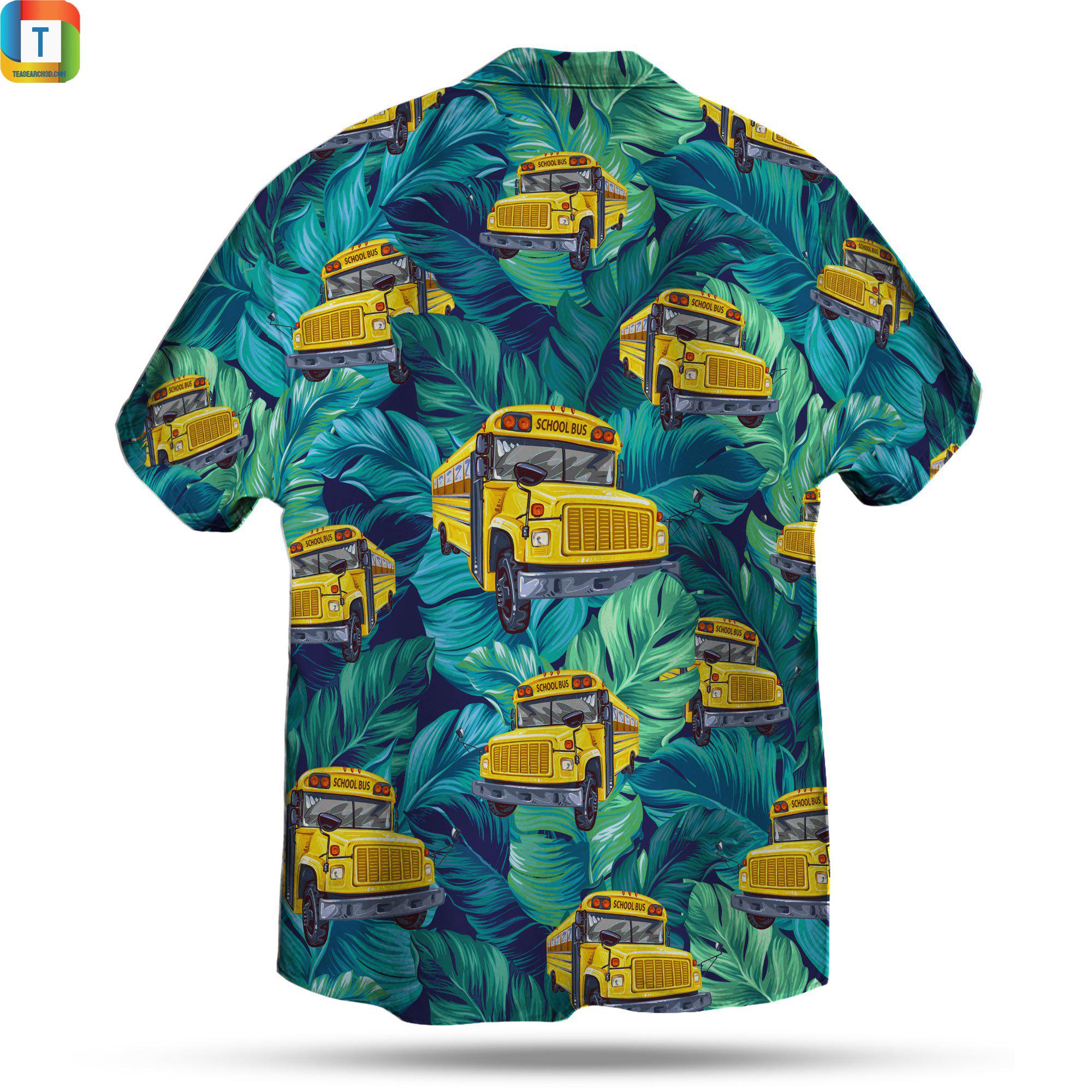 School bus pattern hawaiian shirt 2