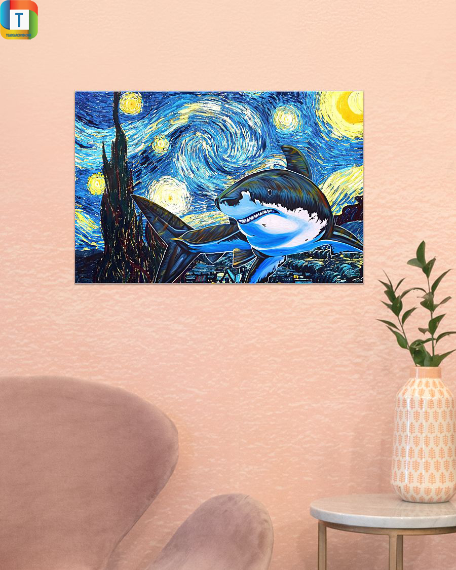 Shark starry night horizontal poster 1
