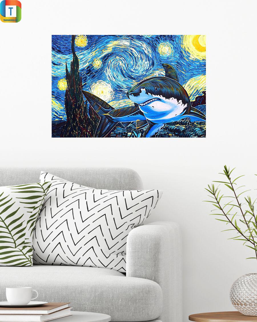 Shark starry night horizontal poster 2