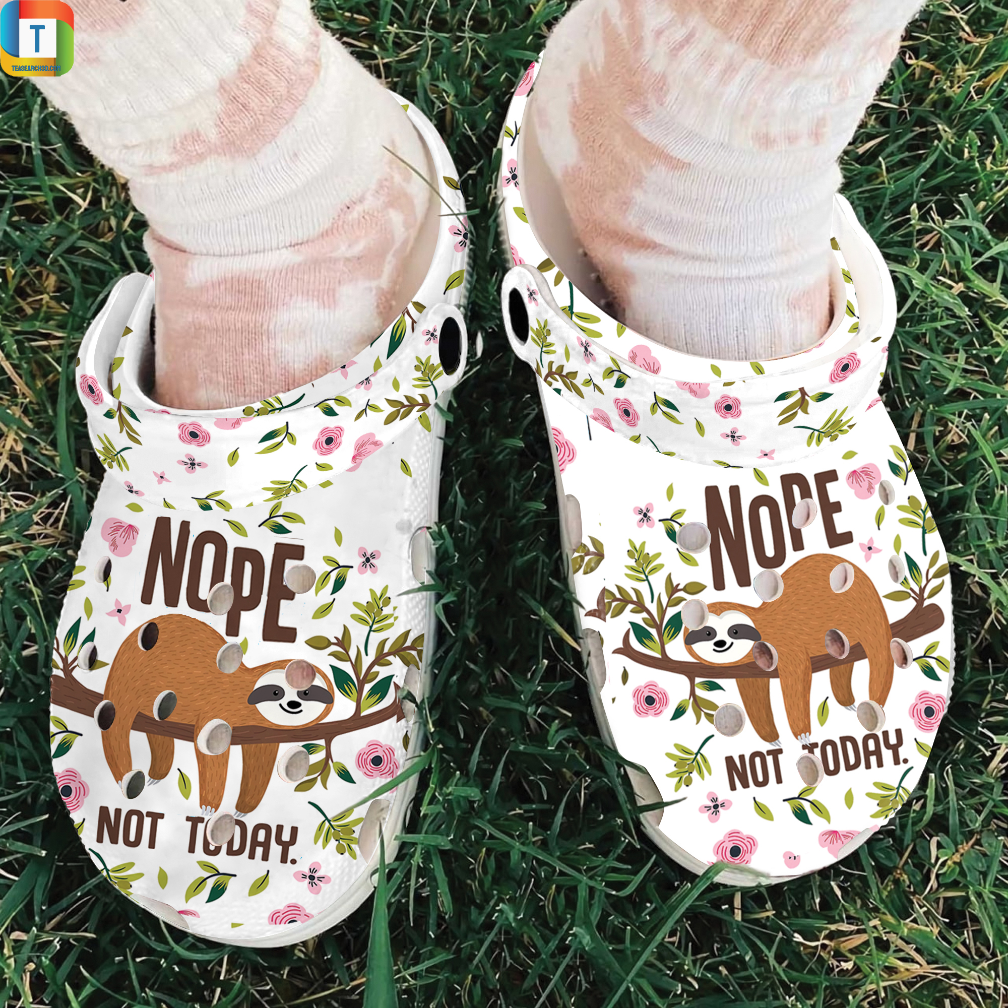 Sloth Nope Not Today Slippers Crocband Shoes 2