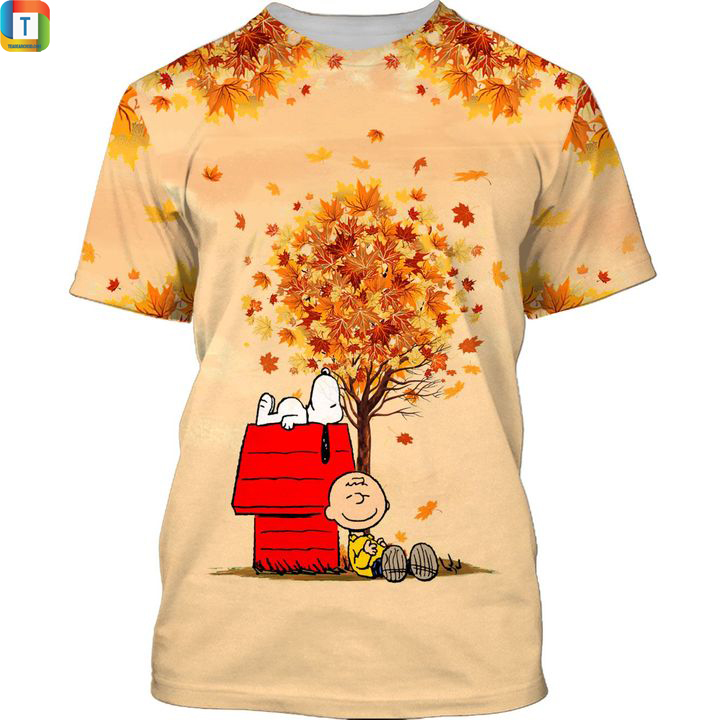 Snoopy autumn time 3d all over printed shirt
