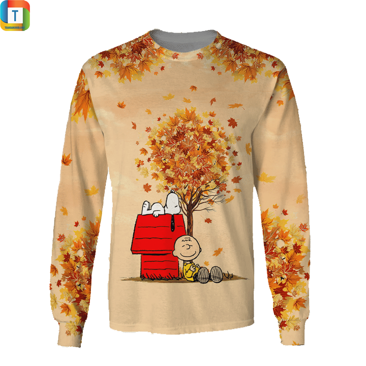 Snoopy autumn time 3d all over printed sweatshirt