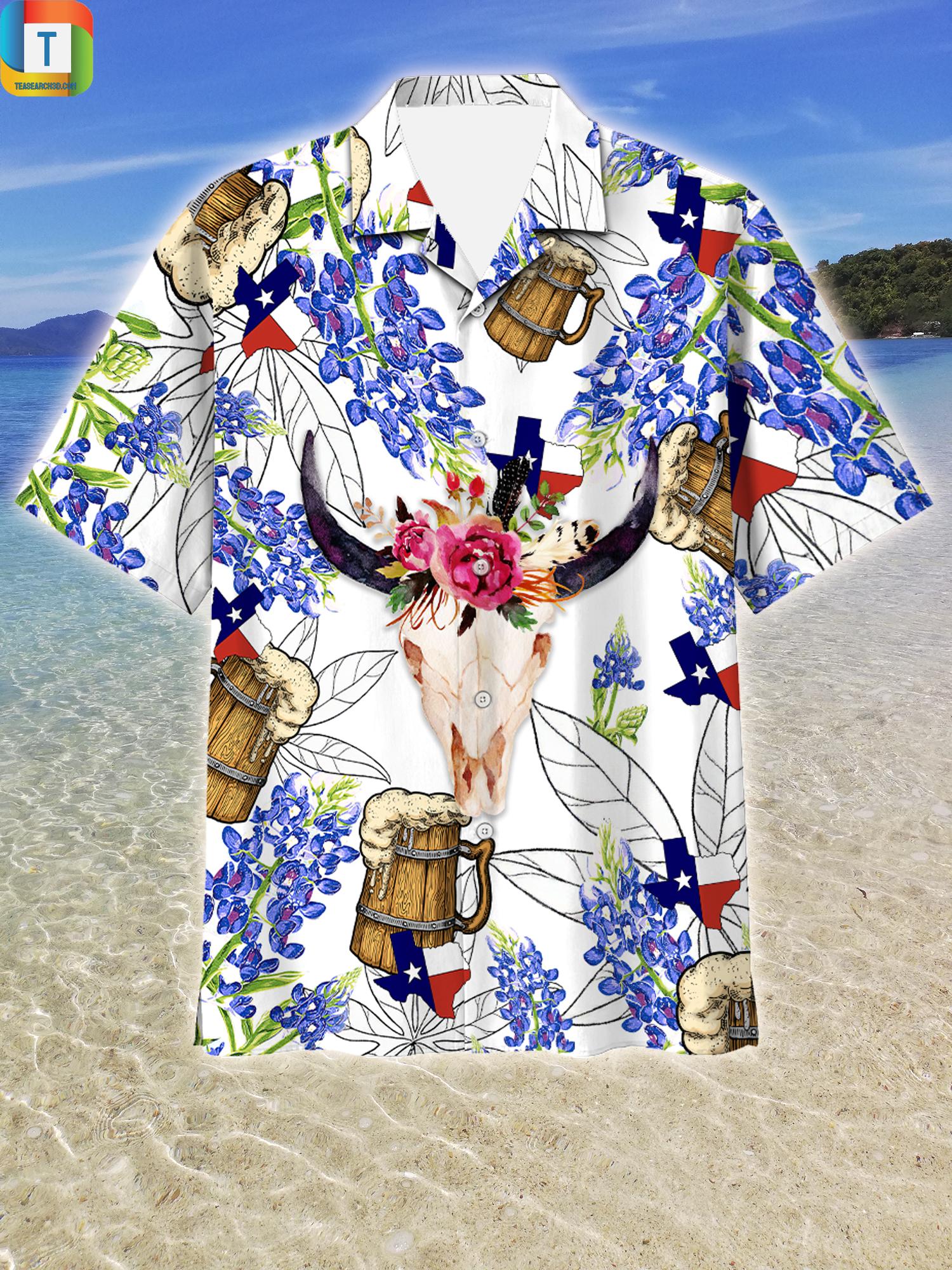 Texas Longhorn With Beer Hawaiian Shirt Beach Short 1
