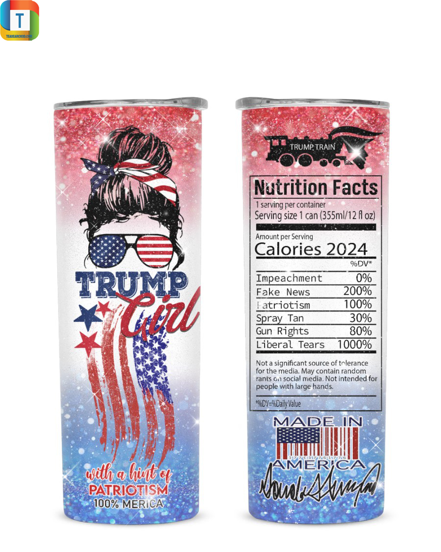 Trump girl with a hint of patriotism 100% merica tumbler