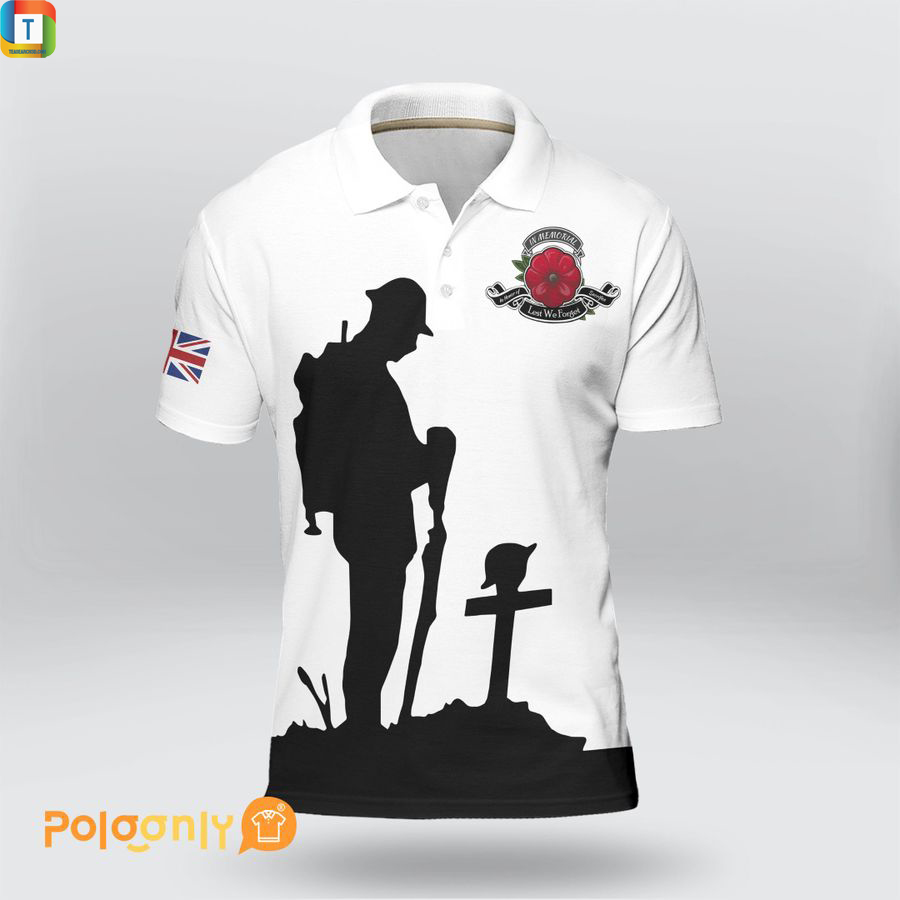 UK veteran lest we forget polo shirt 1
