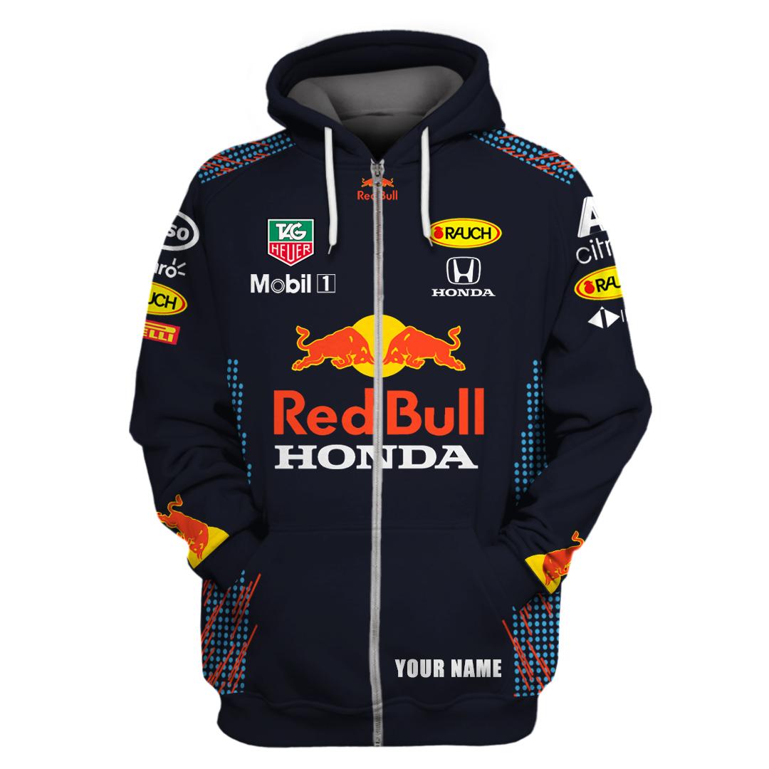 Personalized custom name Red bull mobil 1 racing 3d all over printed zip hoodie