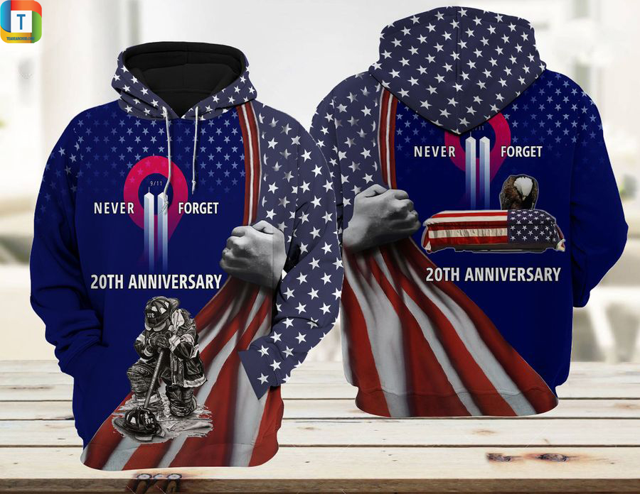 Patriot firefighter 911 20th anniversary never forget 3d printed hoodie