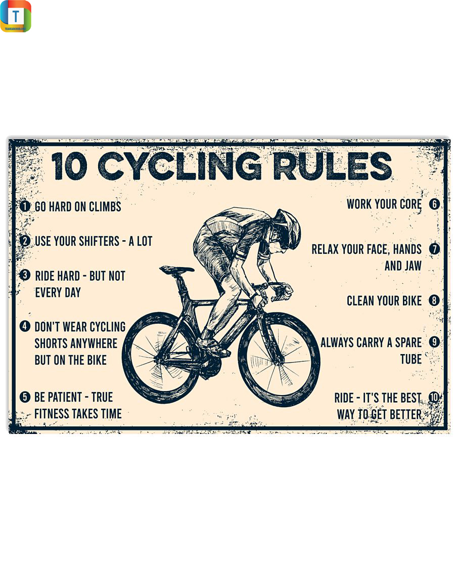 10 Cycling Rules Horizontal Poster