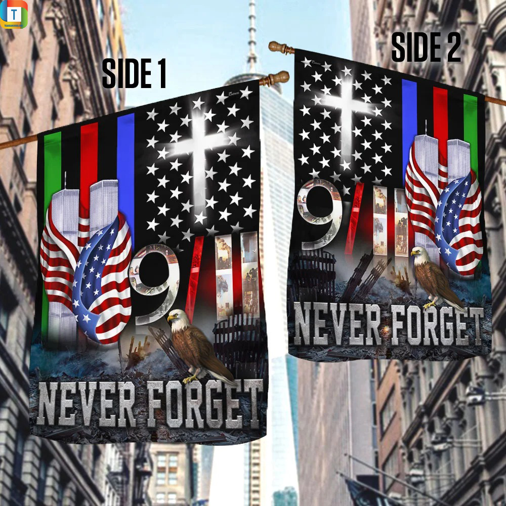 9 11 Never Forget Police Military and Fire Thin Line Flag 1