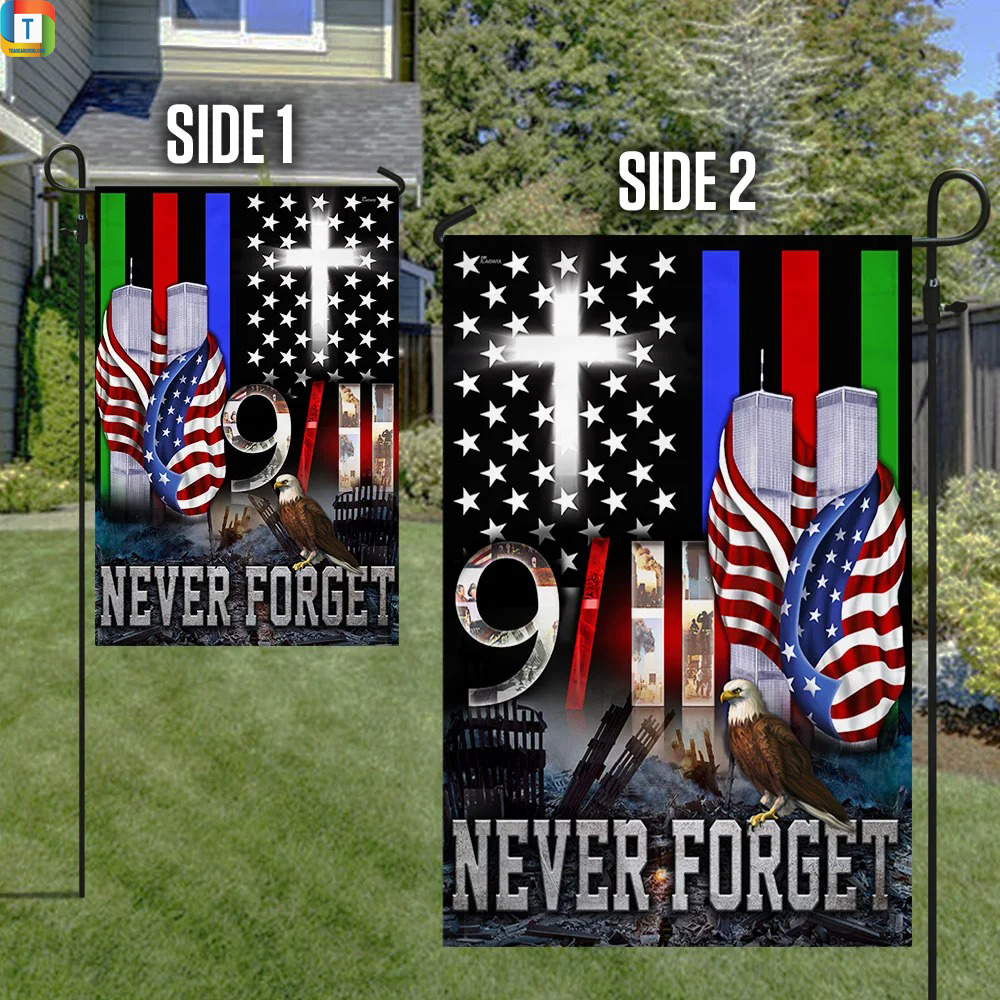 9 11 Never Forget Police Military and Fire Thin Line Flag 2