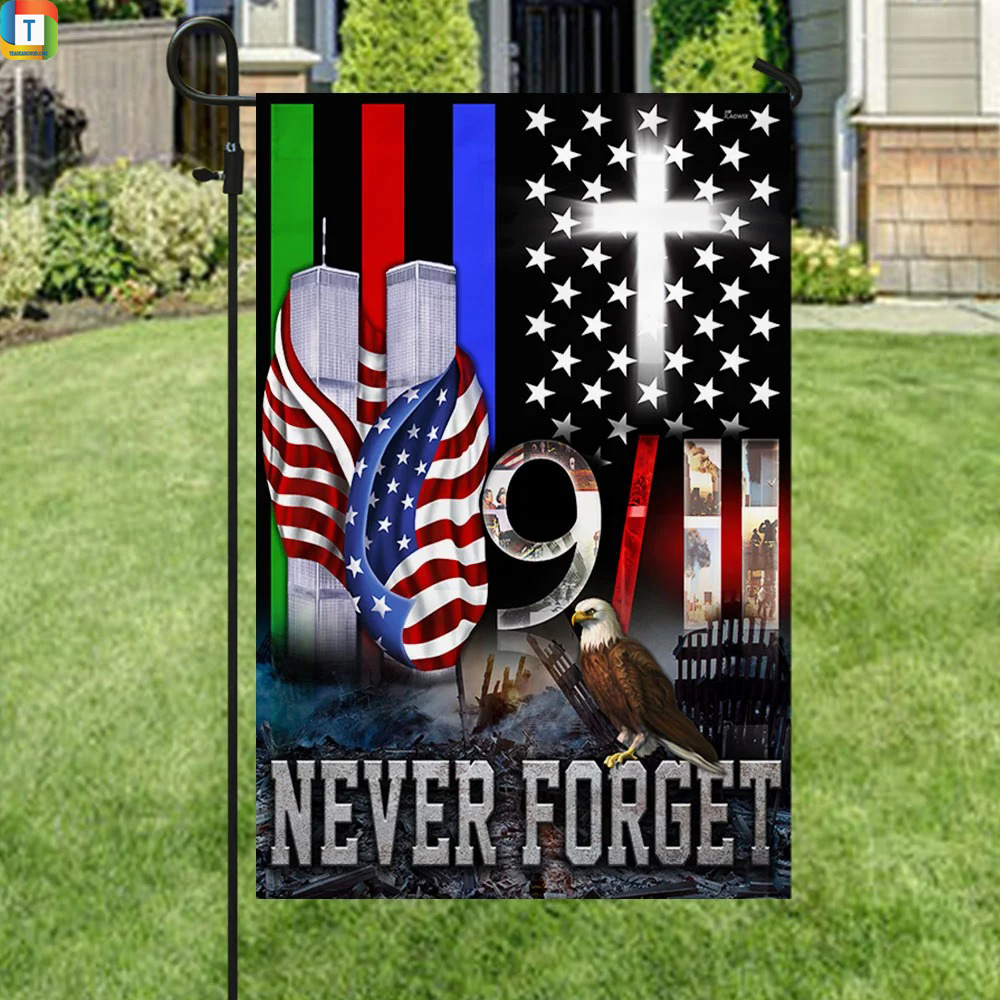 9 11 Never Forget Police Military and Fire Thin Line Flag 3