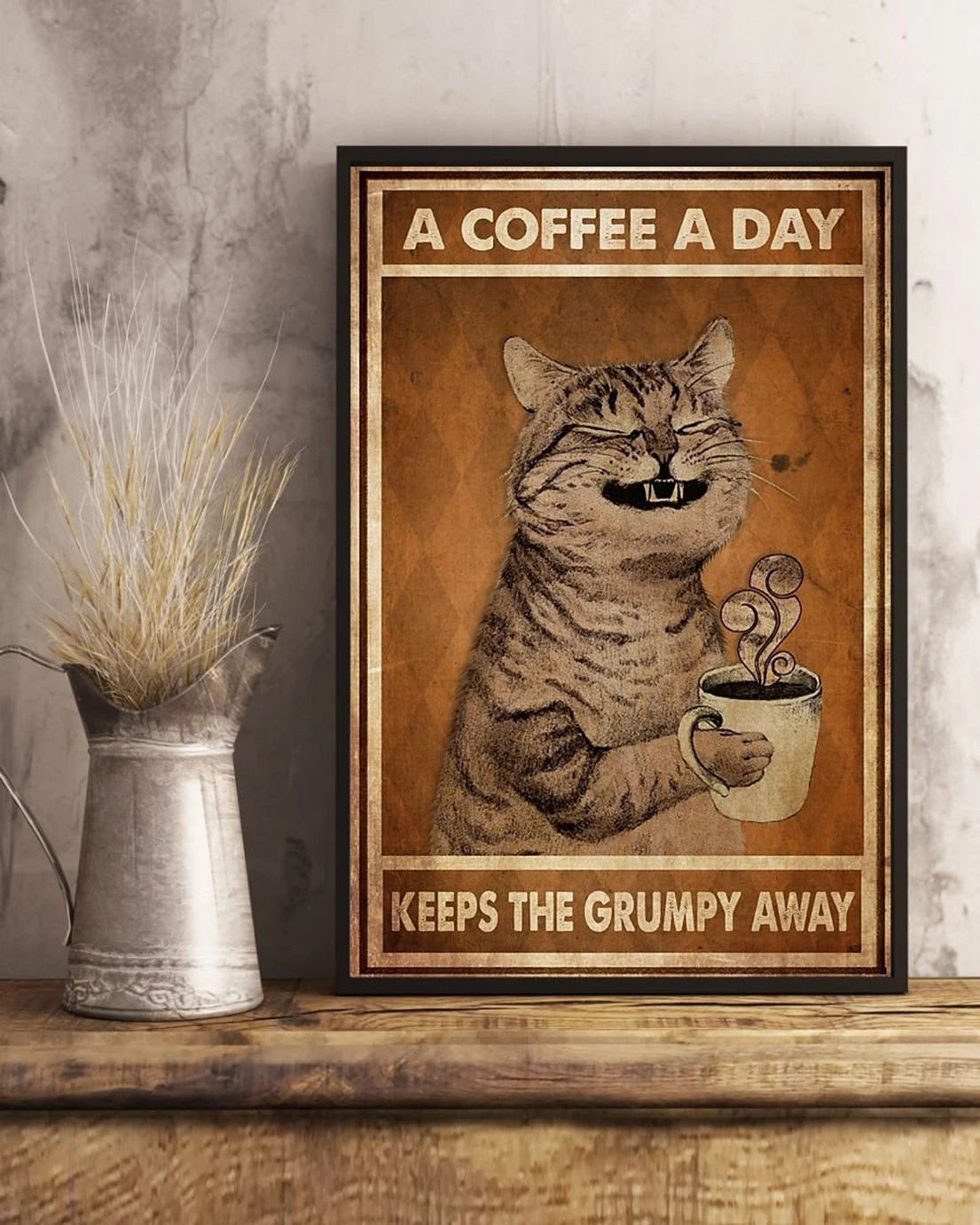A coffee a day grumpy cat poster