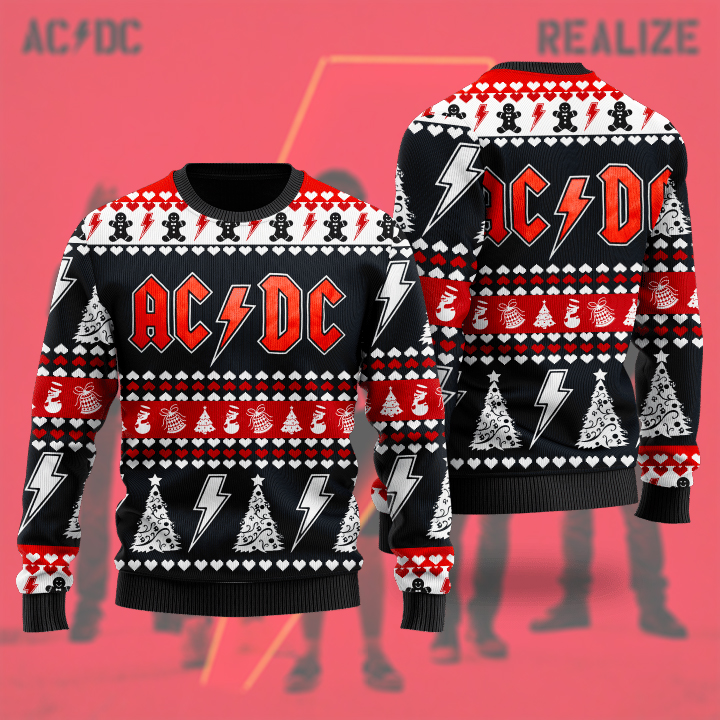 AC DC Rock Band 3D Ugly Christmas Sweater