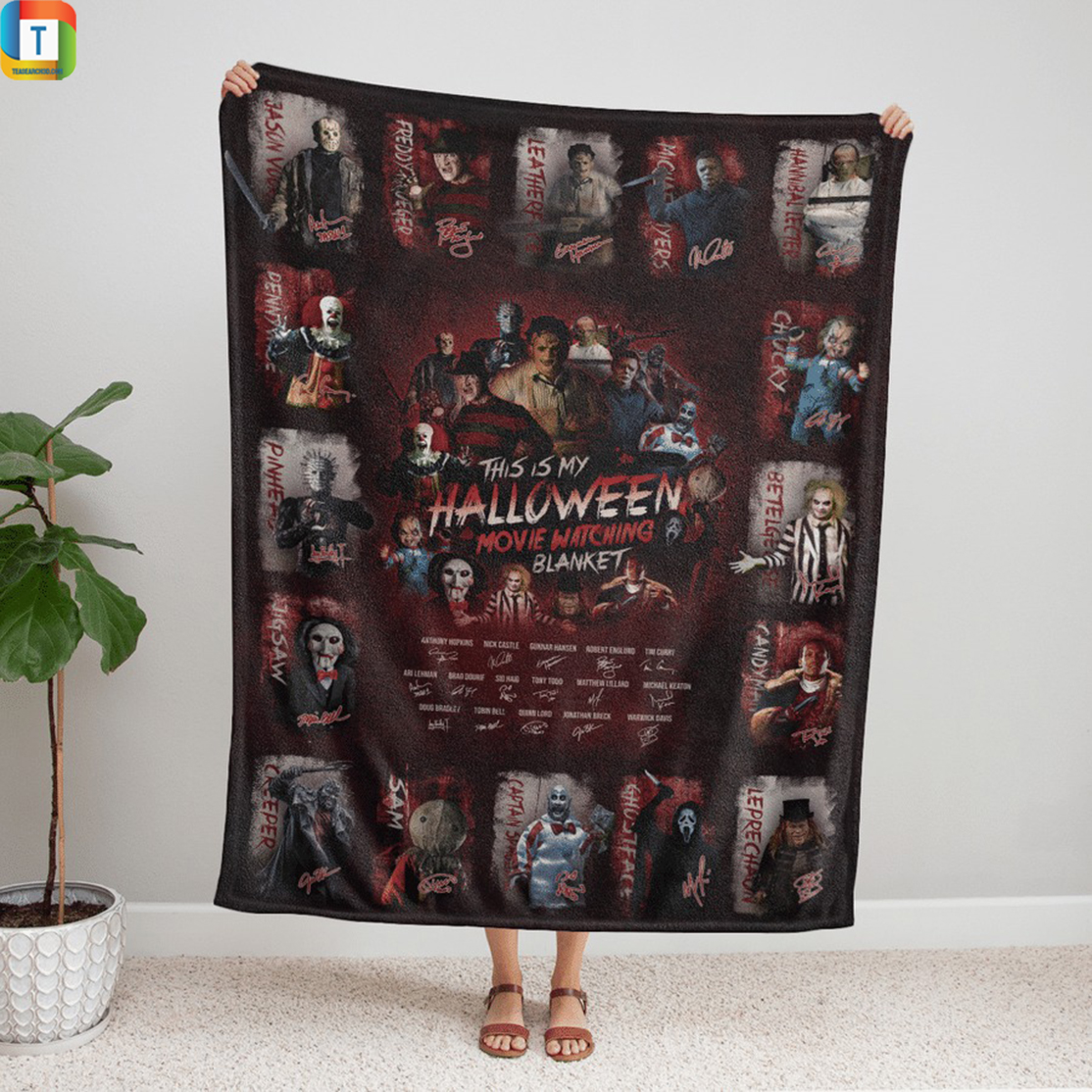 All classic horror movies characters this is my halloween watching movie blanket