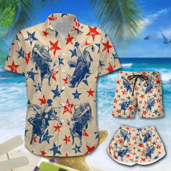 America Bull Riding Hawaiian Men And Women Shirt