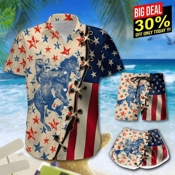 America Saddle Bronc Hawaiian Shirt