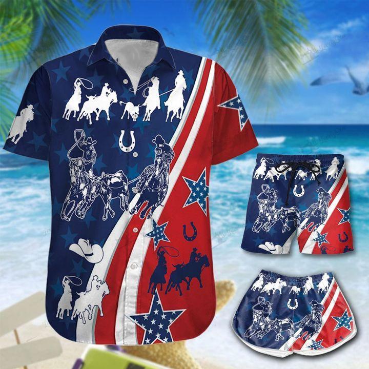 America Team Roping Hawaiian Shirt For Family