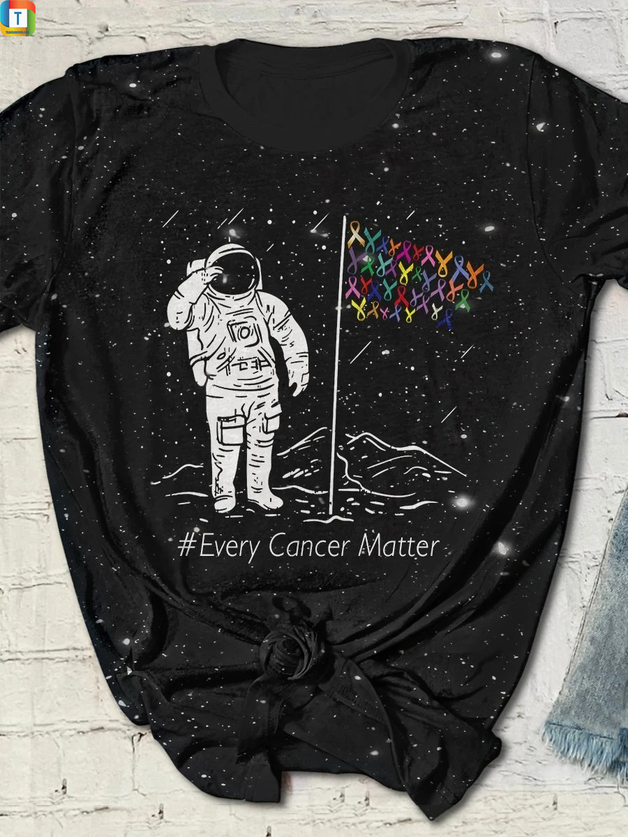 Astronaut Every cancer matter all over print bleached t-shirtAstronaut Every cancer matter all over print bleached t-shirt