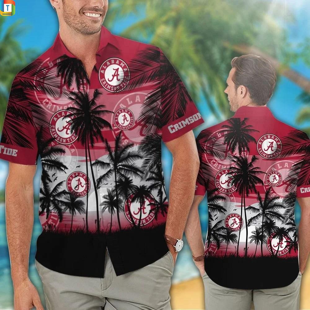 Alabama crimson tide tropical hawaiian shirt 1